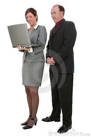 Business Couple With Laptop Computer  Over White Background