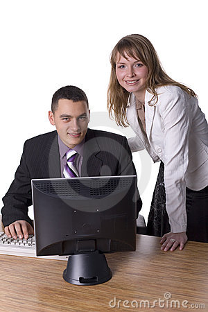 Business couple at the office desk