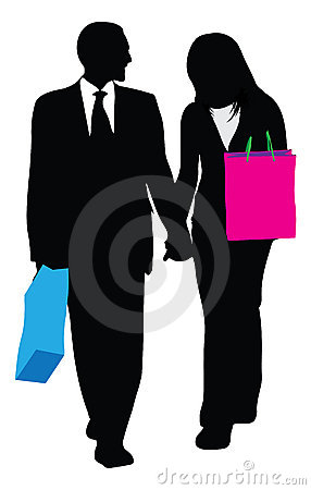 Business couple shopping illustration