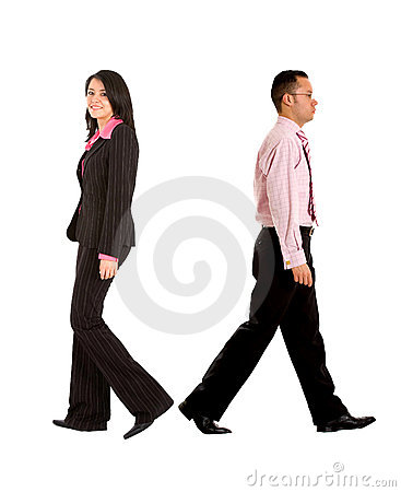Business couple walking away