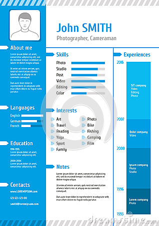 Business curriculum vitae and resume vector template Vector Illustration
