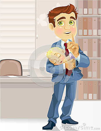 Business dad in the office with  sleeping  child