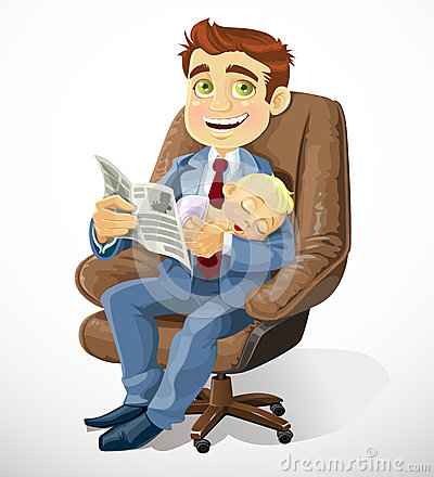 Business dad with sleep baby in an office chair