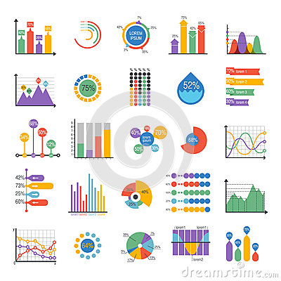 Business data graph analytics vector elements Vector Illustration