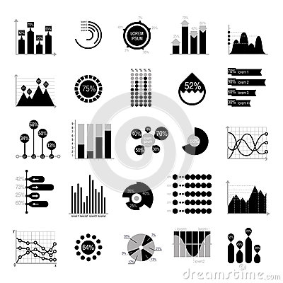 Business data graph analytics vector elements black silhouette Vector Illustration
