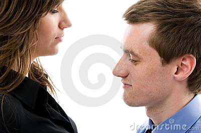 Business dialogue. Young man and woman talk.