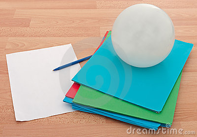 Business documents with crystal ball