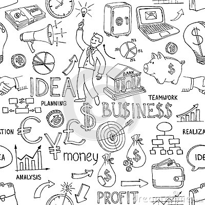 Free Business Doodles Seamless Pattern Stock Image - 39797151