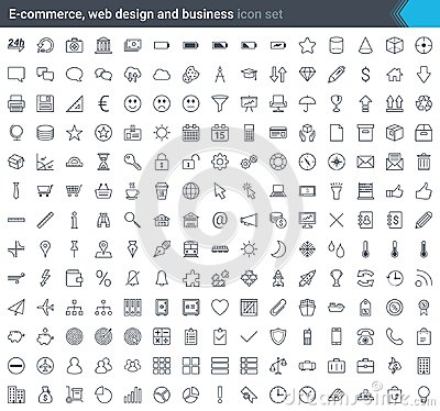 Free Business, E-commerce, Web And Shopping Icons Set In Modern Style Isolated On White Background. Stroke Icons. Stock Photo - 119541370