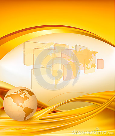 Business elegant gold background with globe