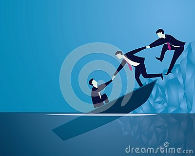 Business Failure Recovery Rescue Teamwork Concept Vector Illustration