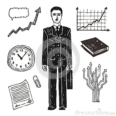 Business and finance icon set. Businessman.