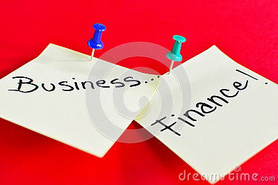 Business and Finance text on sticky note