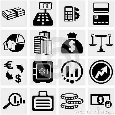 Business & Finance vector icons set on gray.