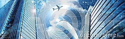 Business futuristic skyscraper banner
