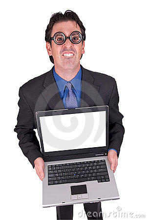 Business geek with laptop