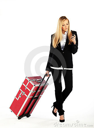 Business girl on a business trip