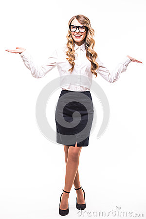 Business girl with eyeglasses on white backgroung
