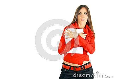 Business girl hiding blank paper