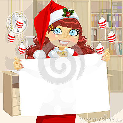 Business girl in Santa cap hold blank banner