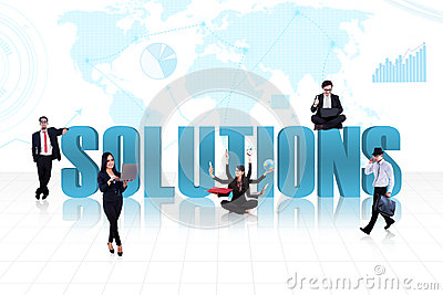 Business global solutions in blue