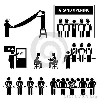 Business Grand Opening Stick Figure Pictogram