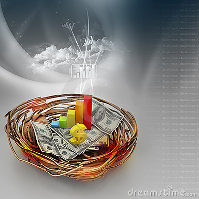Free Business Graph And Dollar On Nest Royalty Free Stock Photo - 20298635