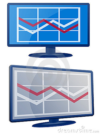 Business Graph LCD Screen Monitor