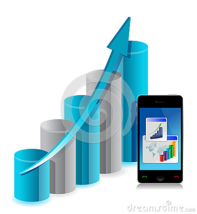 Business graph and mobile phone