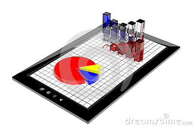 Business graph and pie chart on tablet