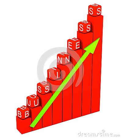 Business graph with red cubes