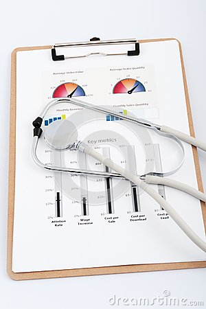 Free Business Graph With Stethoscope Stock Photography - 29622912