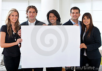 Business group with banner