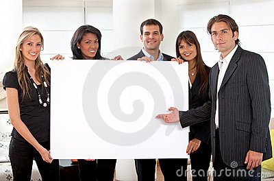 Business group with a banner