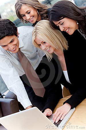 Business group with a computer