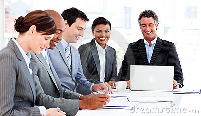 Business group discussing a new strategy