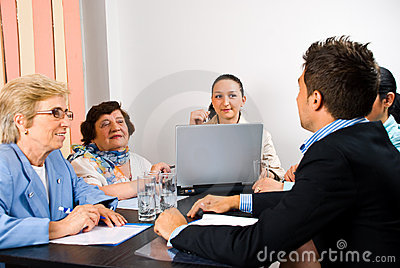 Business group having meeting