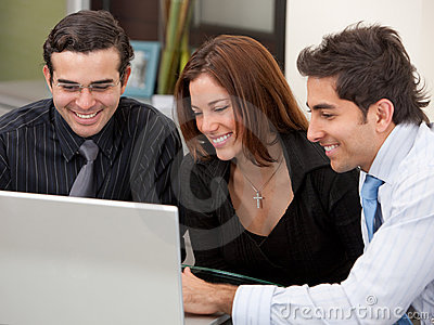 Business group on a laptop