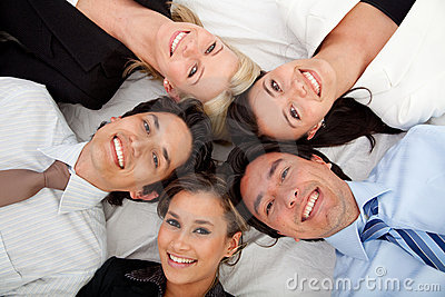 Business group lying on the floor