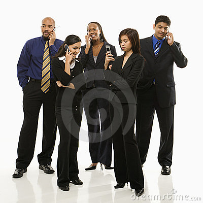 Business group with phones