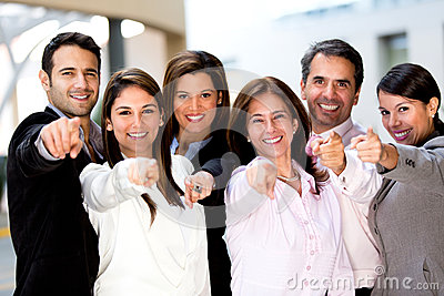 Business group pointing