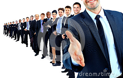 Business group in a row. leader with open hand