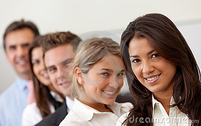 Business group smiling