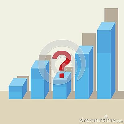 Business growth concept, third bar declines