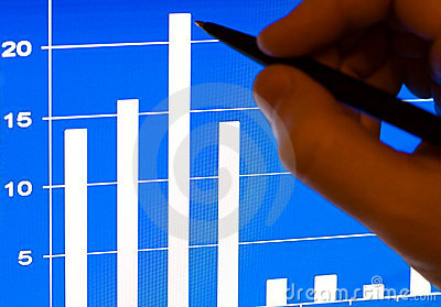 Business growth - financial stats on laptop lcd