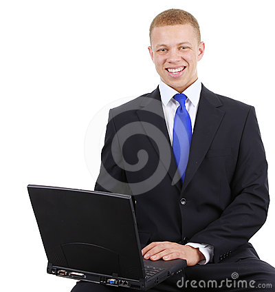 Business guy with laptop
