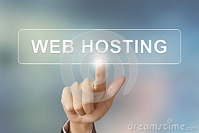 Business hand clicking web hosting button on blurred background