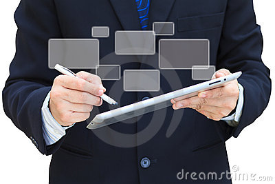 Business hand hold touch screen tablet computer