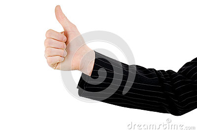 Business hand thumbs up