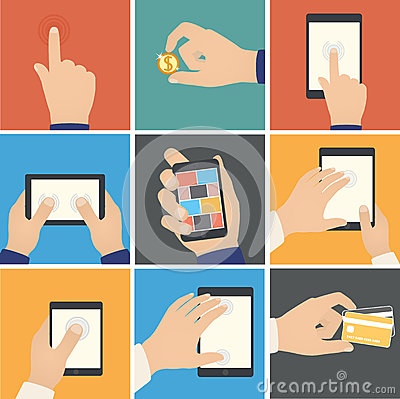 Business hands action, pointers to touch digital d